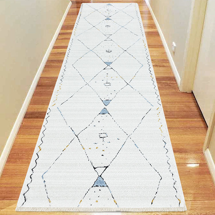 Moroccan lattice Design Hallway Runner Dusk 3271 Grey Cream With  Tassels