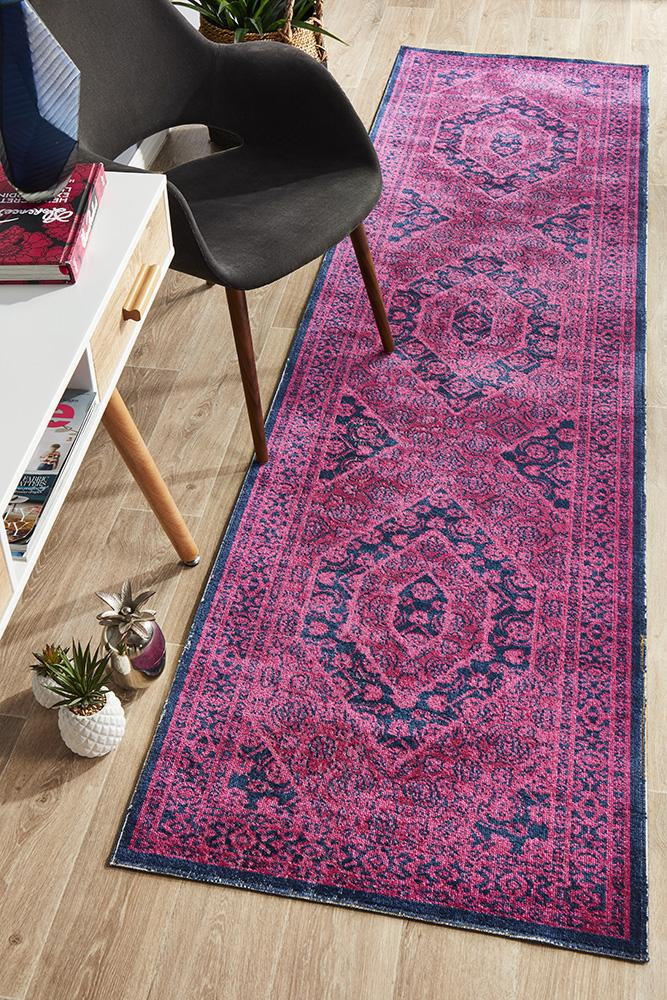 Over-Dyed Traditional Whisper Vision Magenta Runner Rug