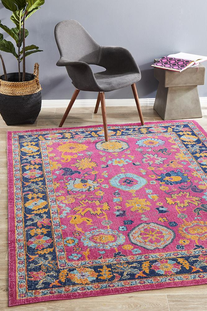 Traditional Eternal Whisper Corners Pink Rug