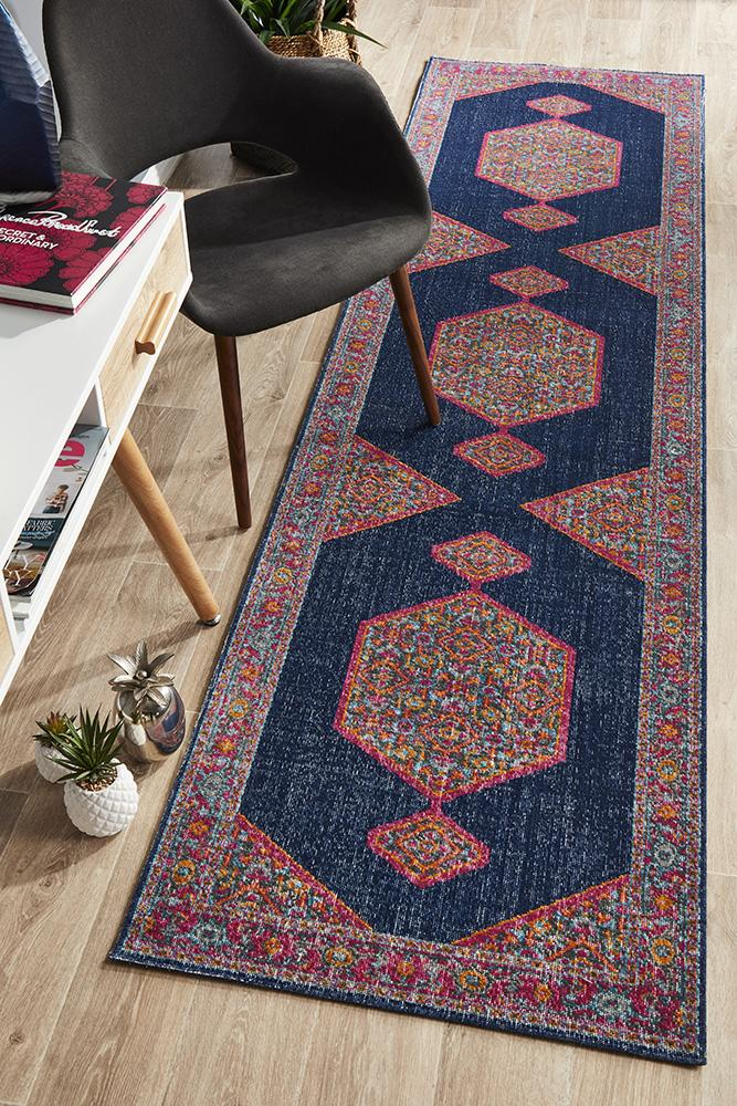 Eternal Traditional Whisper Blink Navy Runner Rug