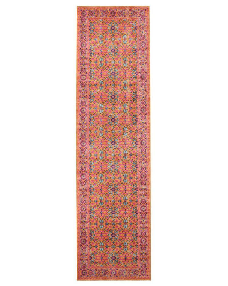 Stonewashed Traditional  Whisper Sunset Rust Runner Rug