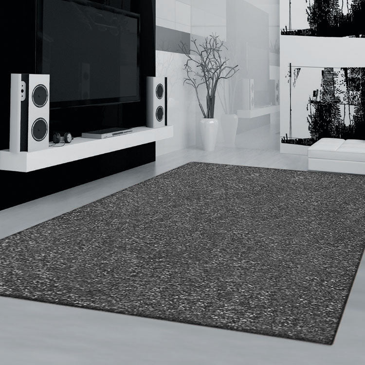 Dark Grey Plain Colour Rug European Collection