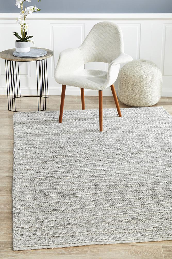 Hand Woven wool Viscose Harvest 801 Silver  Colour Rug