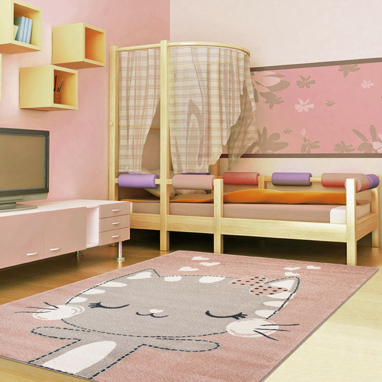 Kids  Pink Cat  Rug by Iconic rugs Australia