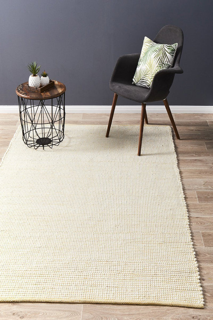 Contemporary Hand Woven   Stunning Wool Yellow Rug