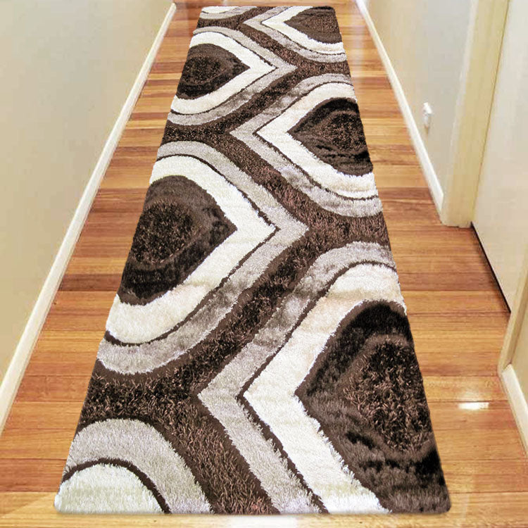 Luxury Shaggy 1204 Grey / Red / Brown / Turquoise Hallway Runners