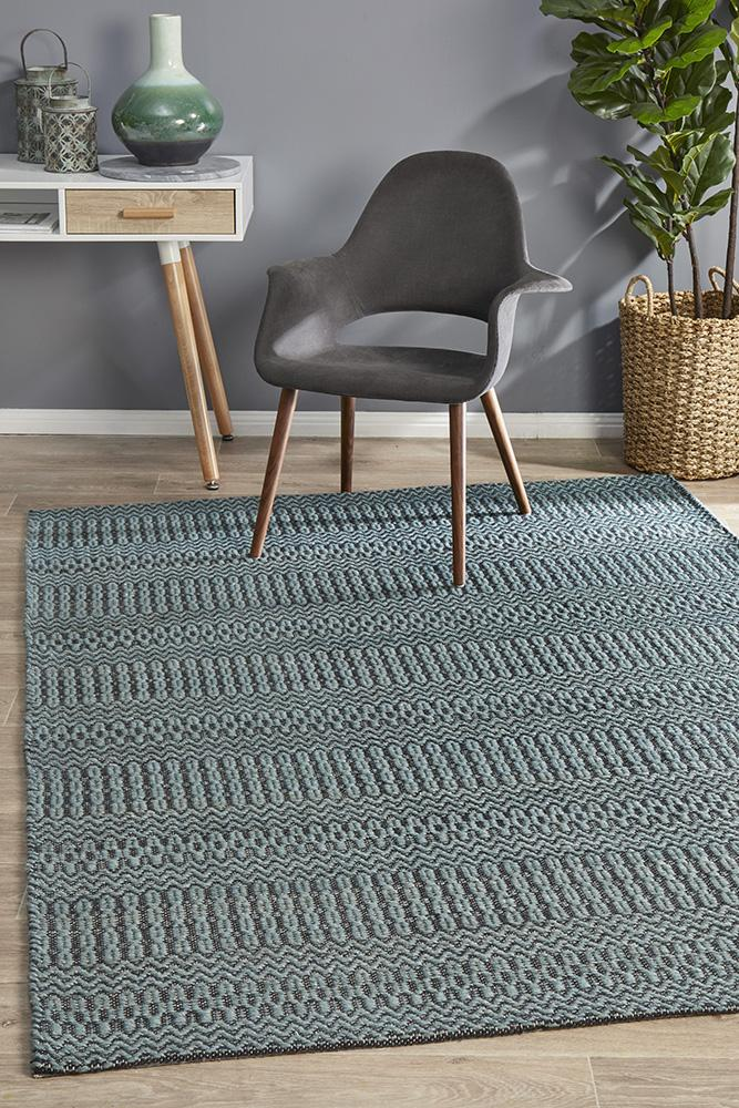 Miller Rhythm Tune Textured Wool Cotton Hand Loomed  Blue Rug