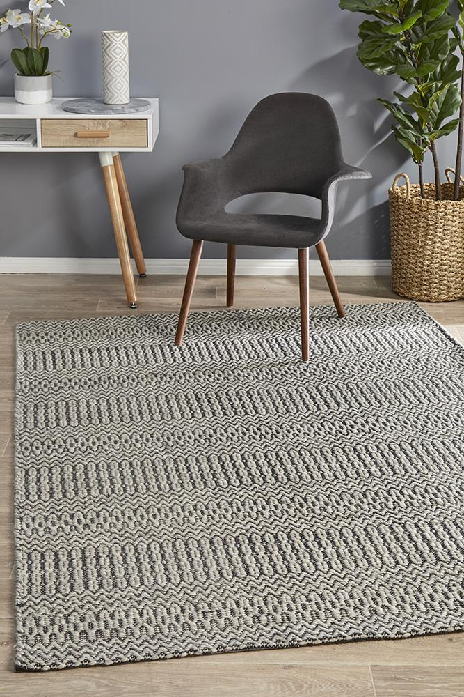 Miller Rhythm Tune Wool Cotton Viscose Hand Loomed Grey Rug