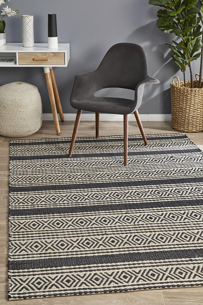 Miller Rhythm Melody Jute Cotton Hand Loomed  Charcoal Rug