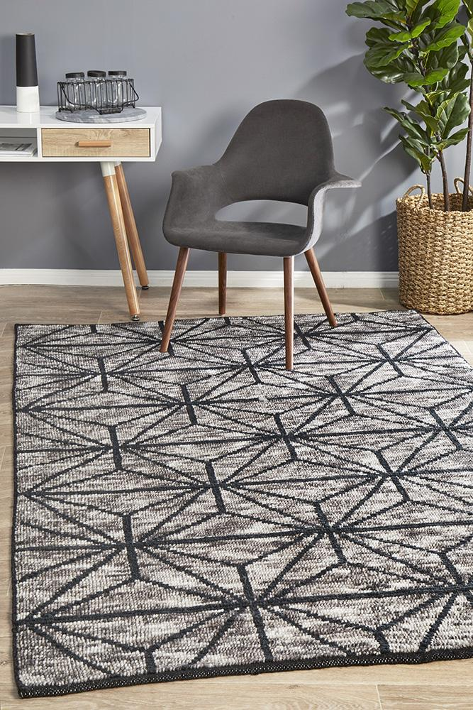 Miller Rhythm Motif  Hand Loomed Diamond Square Charcoal Rug