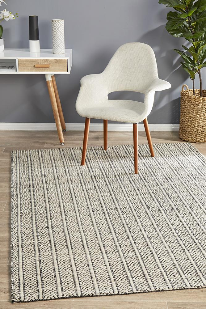 Miller Rhythm Diamond Lyric wool Cotton Hand Loomed  Natural  Rug