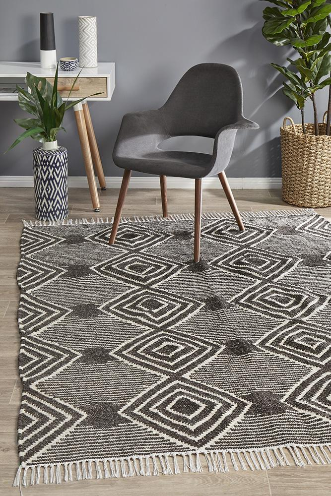 Miller Rhythm Dance Wool Cotton Charcoal Rug