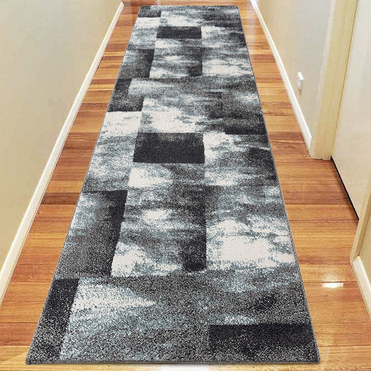 Orrisa 9629  Shaded Squares Blue Hallway Runner