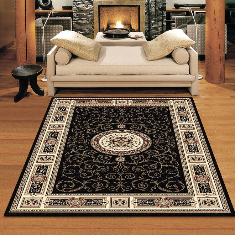 Palace 7647 Black  Traditional Persian Style High Quality  Rugs