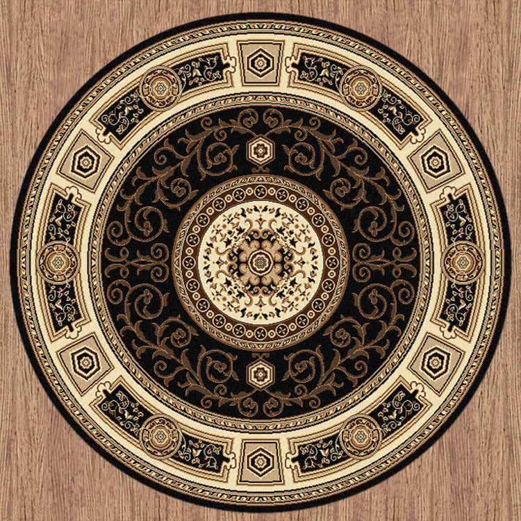 Copy of Palace 7647 Black  Traditional Persian Style High Quality Round Rug
