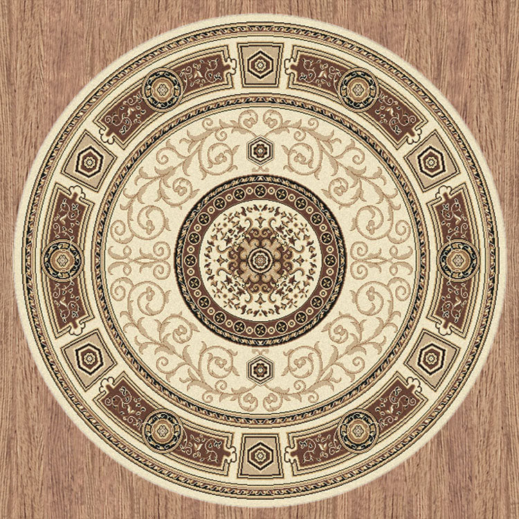 Palace 7647 Cream Cream   Traditional Persian Style High Quality Round Rugs