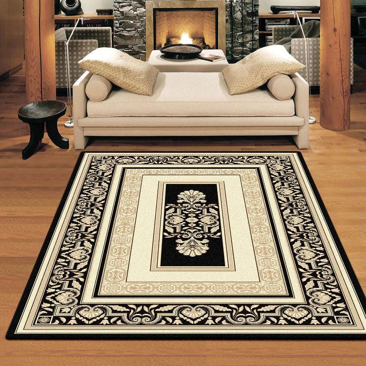 Palace 7652 Black Cream  Traditional Persian Style High Quality Rug