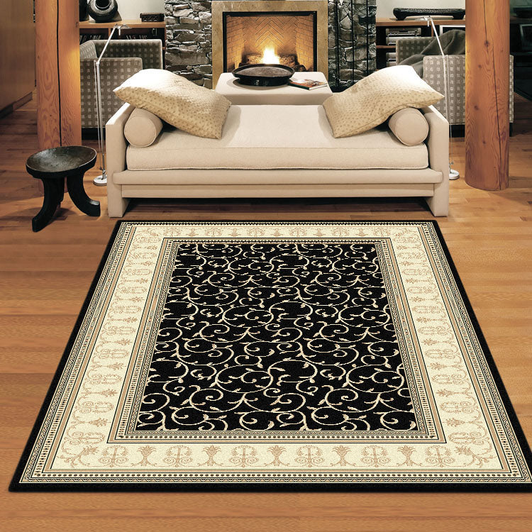 Palace 7653 Floral Black Bordered Persian Style High Quality Rug