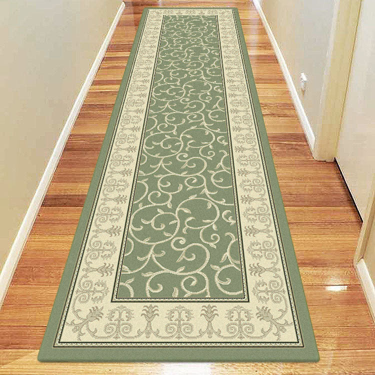 Palace 7653 Floral Light Green  Bordered Persian Style Hallway Runner