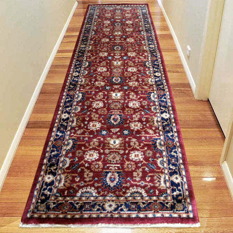Persian 1260 Red  Blue Bordered Oriental Hallway Runner