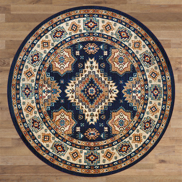 Persian 1267 Medieval Navy / Red Round Rug