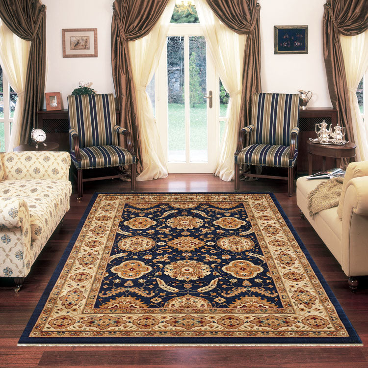 Persian 1269 Medieval Bordered Design  Navy  Rug From $129