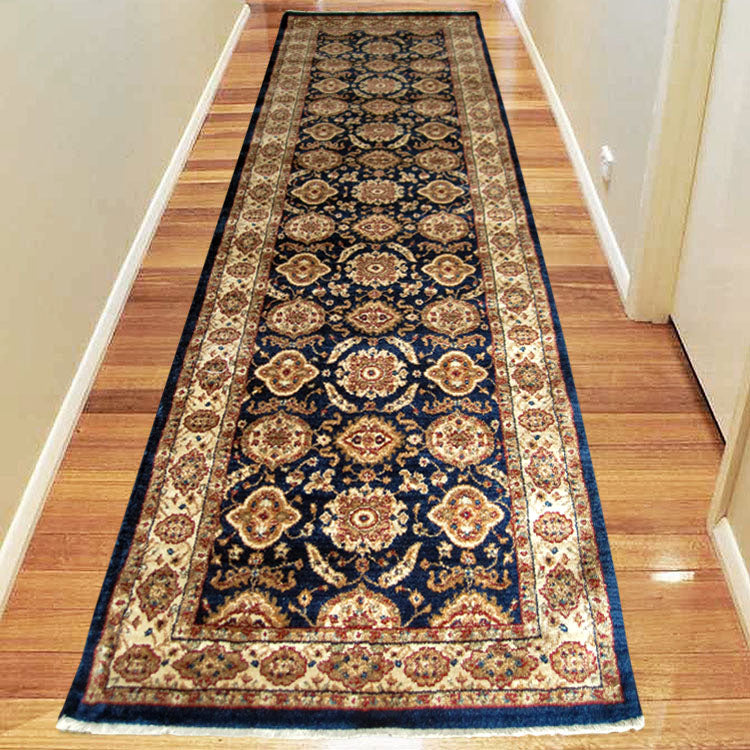Persian 1269 Medieval Bordered Design  Navy Hallway Runner
