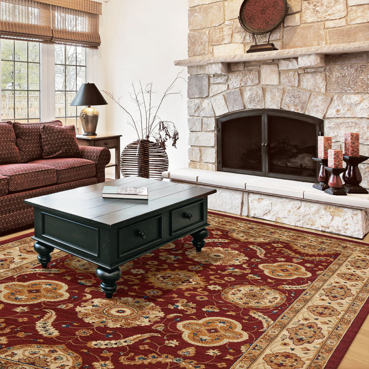 Persian 1269 Medieval Bordered Design Red  Rug From $129