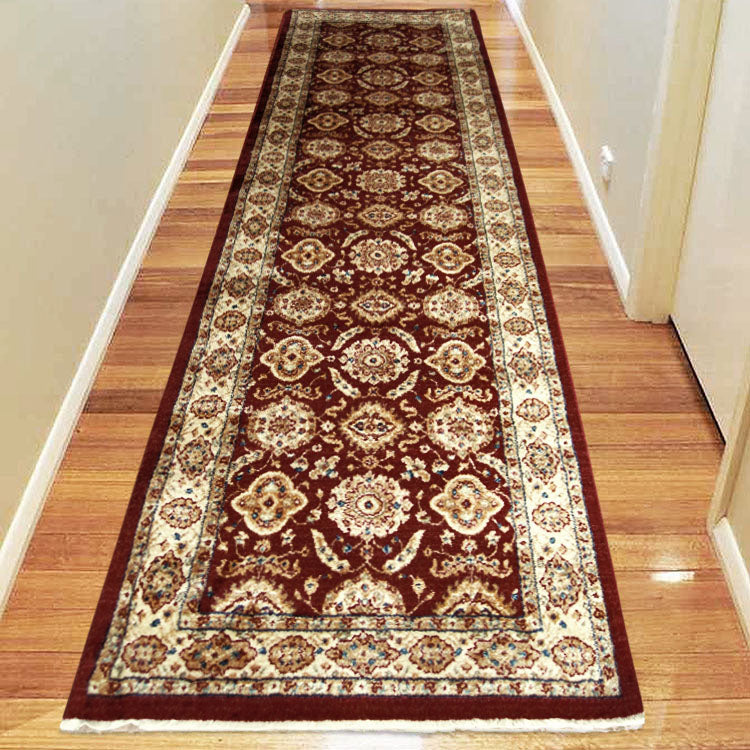 Persian 1269 Medieval Bordered Design Red  Hallway Runner