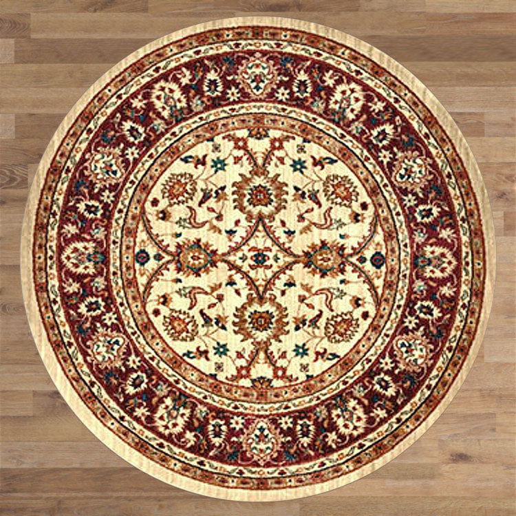 Persian 1270 Ivory Red Bordered Round Rug