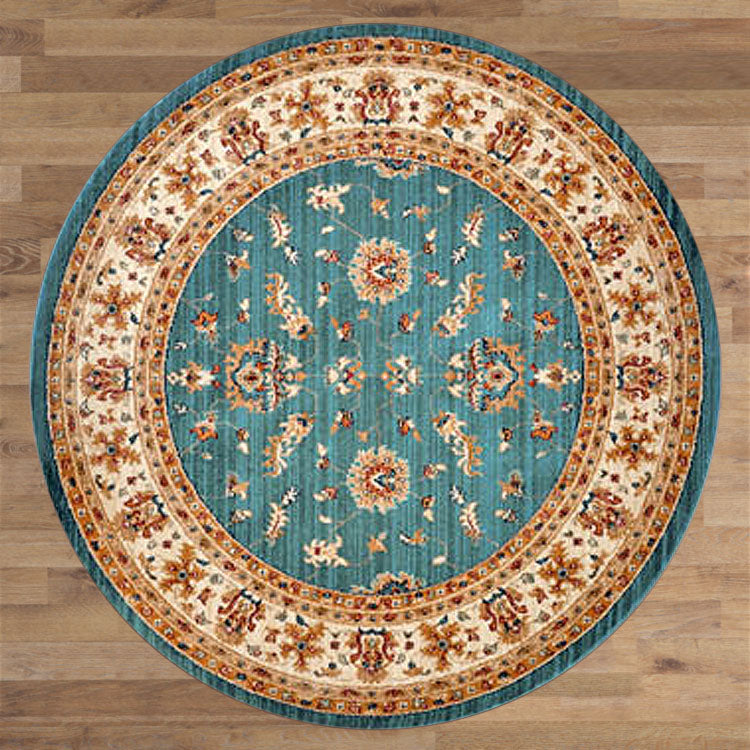 Persian 1271 Olden Blue / Ivory Framed Round Rug