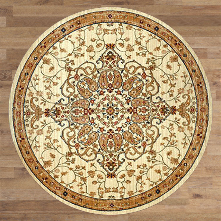 Persian 1324 Medallion Floral   Ivory Round Rug