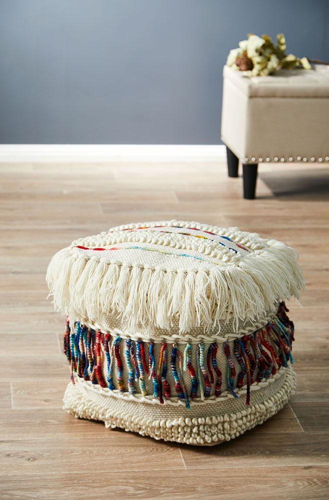 Rug Culture Home 516 Ivory Ottoman