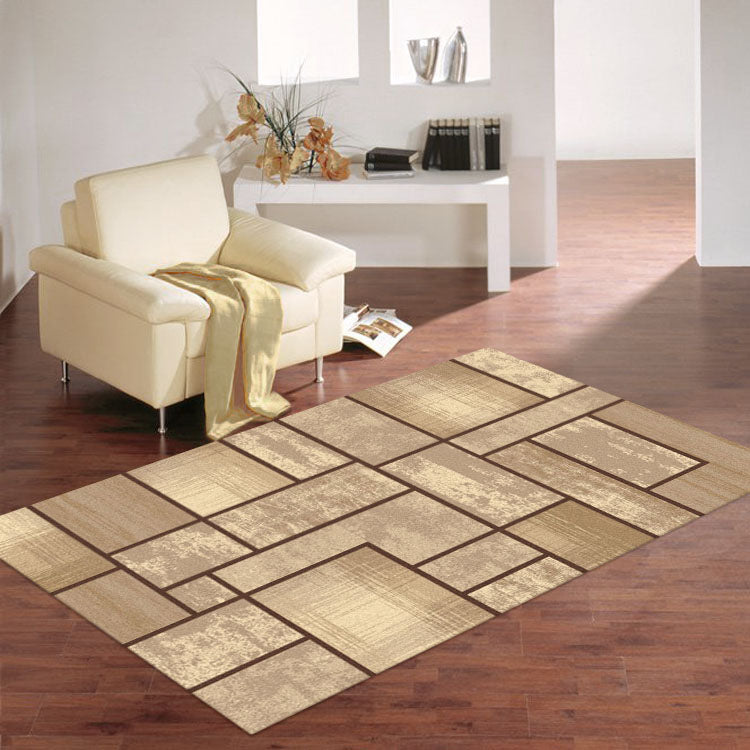 Tiles Pattern Ruby Collection Rug 2119-Beige / Black / Brown / Grey / Red From $79