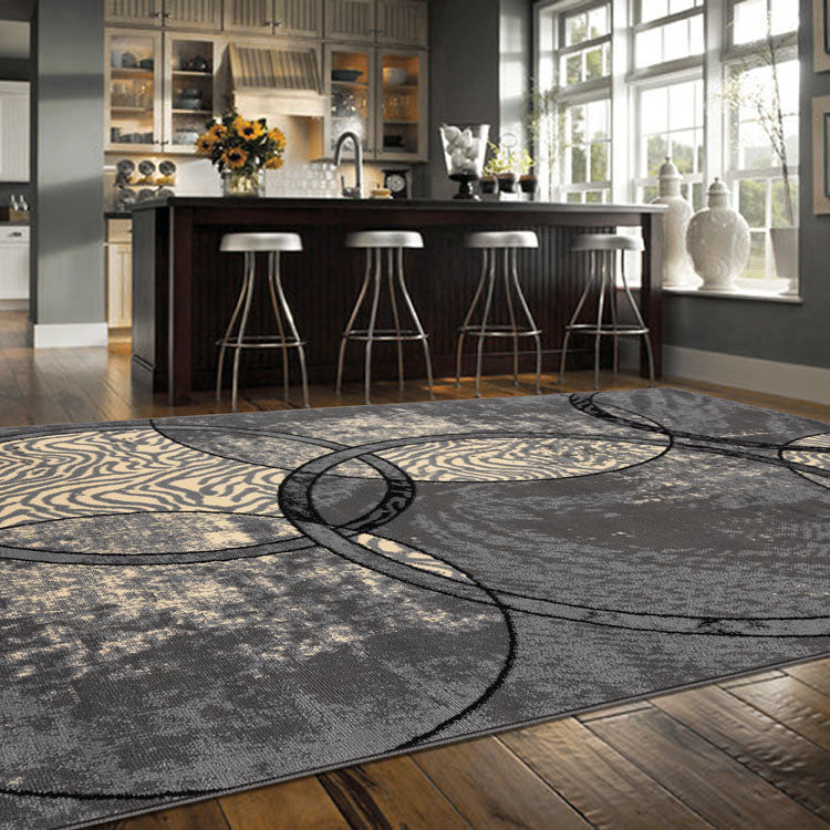 Ruby2680 Grey Circular  pattern  Budget rug From $79