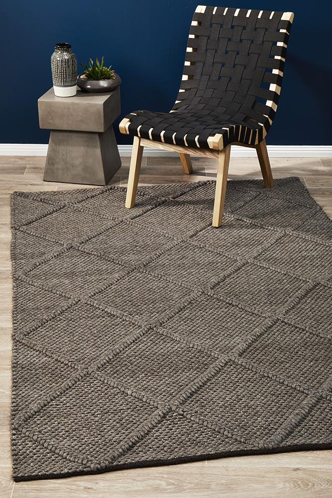 Studio Oberg Wool Diamond Rug Grey Brown