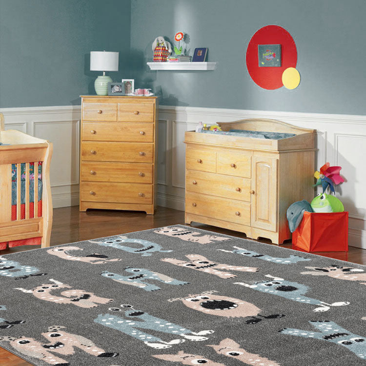 SmartKids ABC.. Grey    Rug By Iconic Rugs Australia