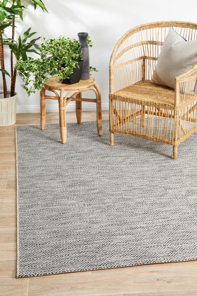 Indoor-Outdoor  Terrace Grey Modern  Rug.