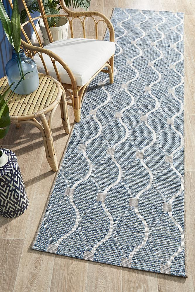 Indoor-Outdoor Quality Wavy  Blue Hallway Runner