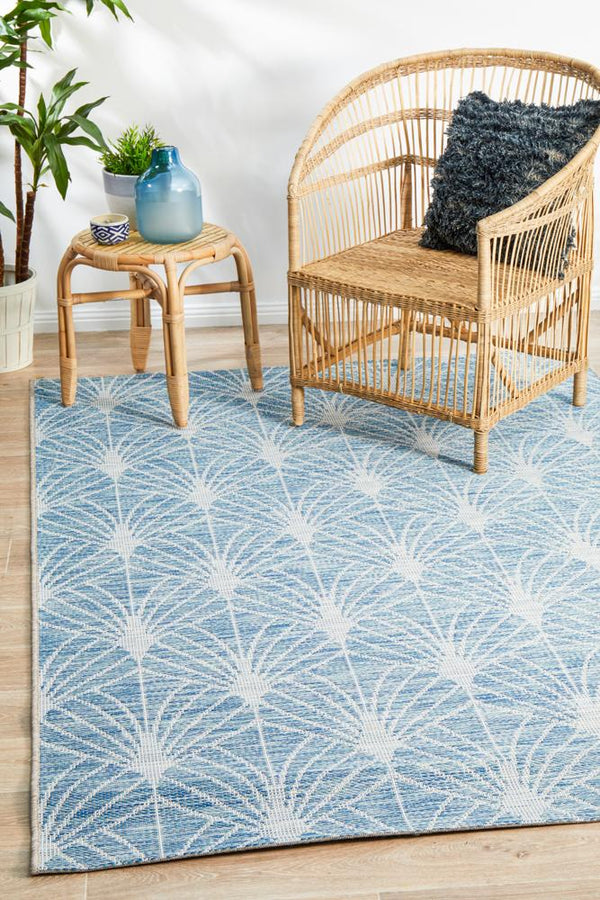 Indoor-Outdoor Contemporary  Blue Rug