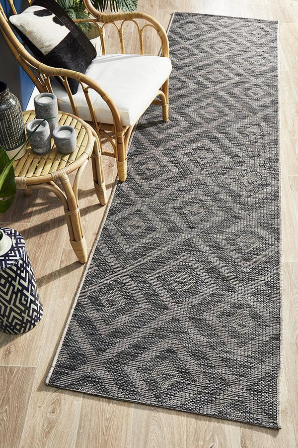 Terrace Indoor-Outdoor 5504 Black Hallway  Runner