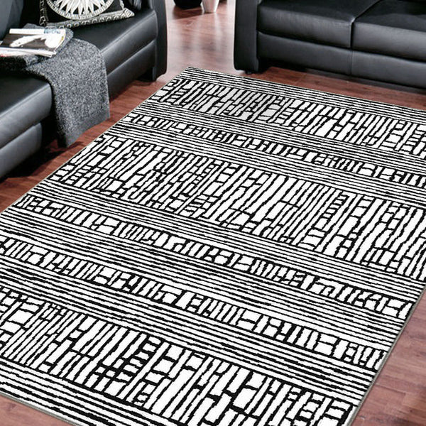 Indoor outdoor Checkered Modern  Grey Rug