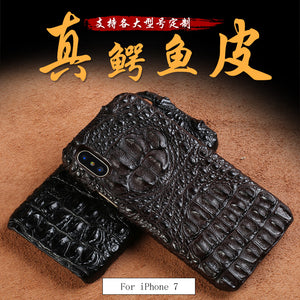LANGSIDI Genuine crocodile leather 3 kinds of styles  Half pack phone case For iphone 7 handmade can customize the model
