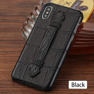 Luxury Phone Case For iPhone X XS XR 8 Plus 11 PRO MAX Original Natural Crocodile Genuine Leather With Strap Bracket Back Cover