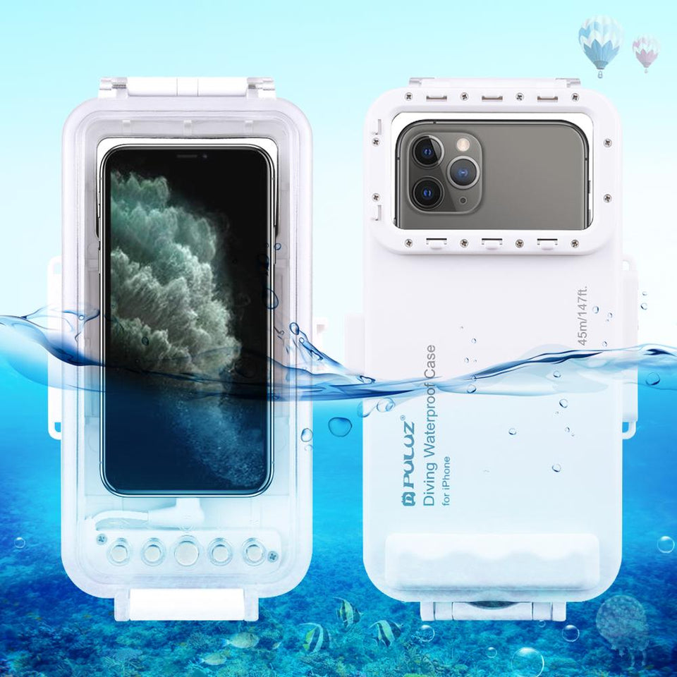 PULUZ 45m/147ft Underwater Waterproof Photo Video Taking Diving Case Cover for iPhone 11/X/XR/ iOS 13.0 or Above Above Version