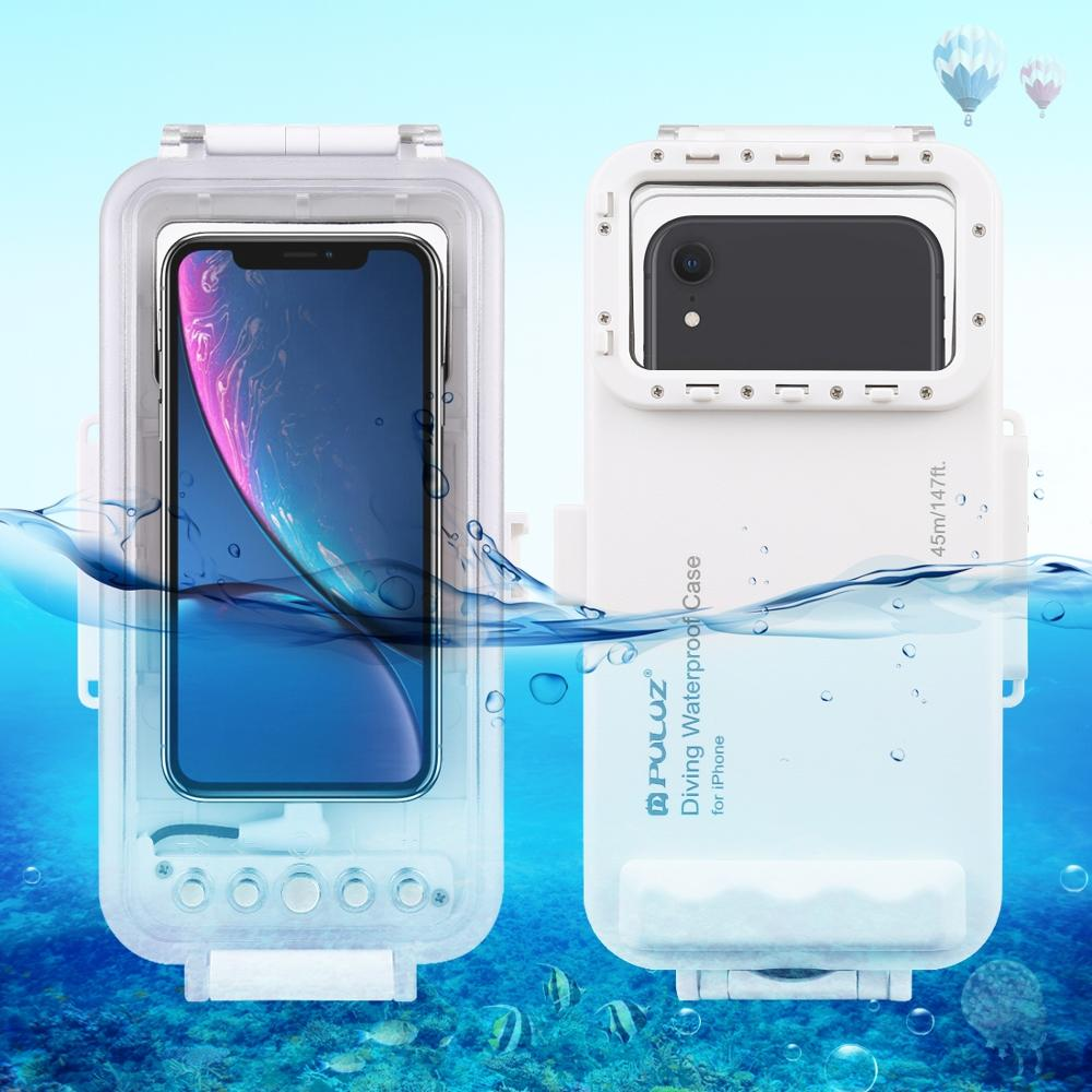 PULUZ for iPhone 11 Pro Max Diving Case 147ft Waterproof Housing Photo Video Taking Underwater Snorkeling Cover Shockproof