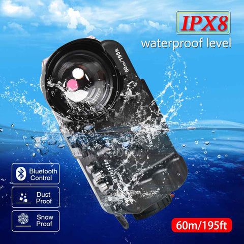 Bluetooth Waterproof Housing Diving Case For iPhone 6/6s/7/8/X/XS/XR Cover 60m/195ft Professional Underwater Protective Case