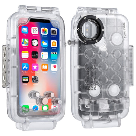 PULUZ for iPhone X XS 40m/ 130ft Waterproof Diving Housing Case for Surfing Swimming Photo Video Taking Underwater Cover
