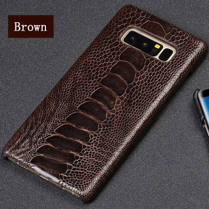 Luxury Natural Ostrich Leg Leather case For Samsung Galaxy S10 back cover S20 Ultra s10 plus S8 S9 Plus A50 A70 A30 A51 A7 A8