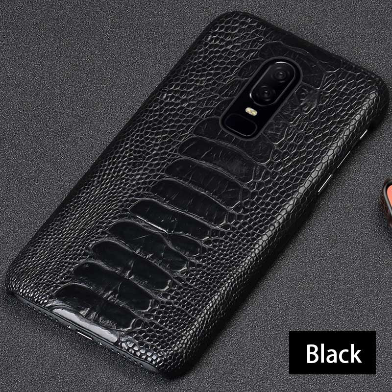 Genuine Leather case For Oneplus 7 PRO 7T Pro Case Natural Ostrich Foot Skin back cover For Oneplus 6 6T 5 5T real leather case